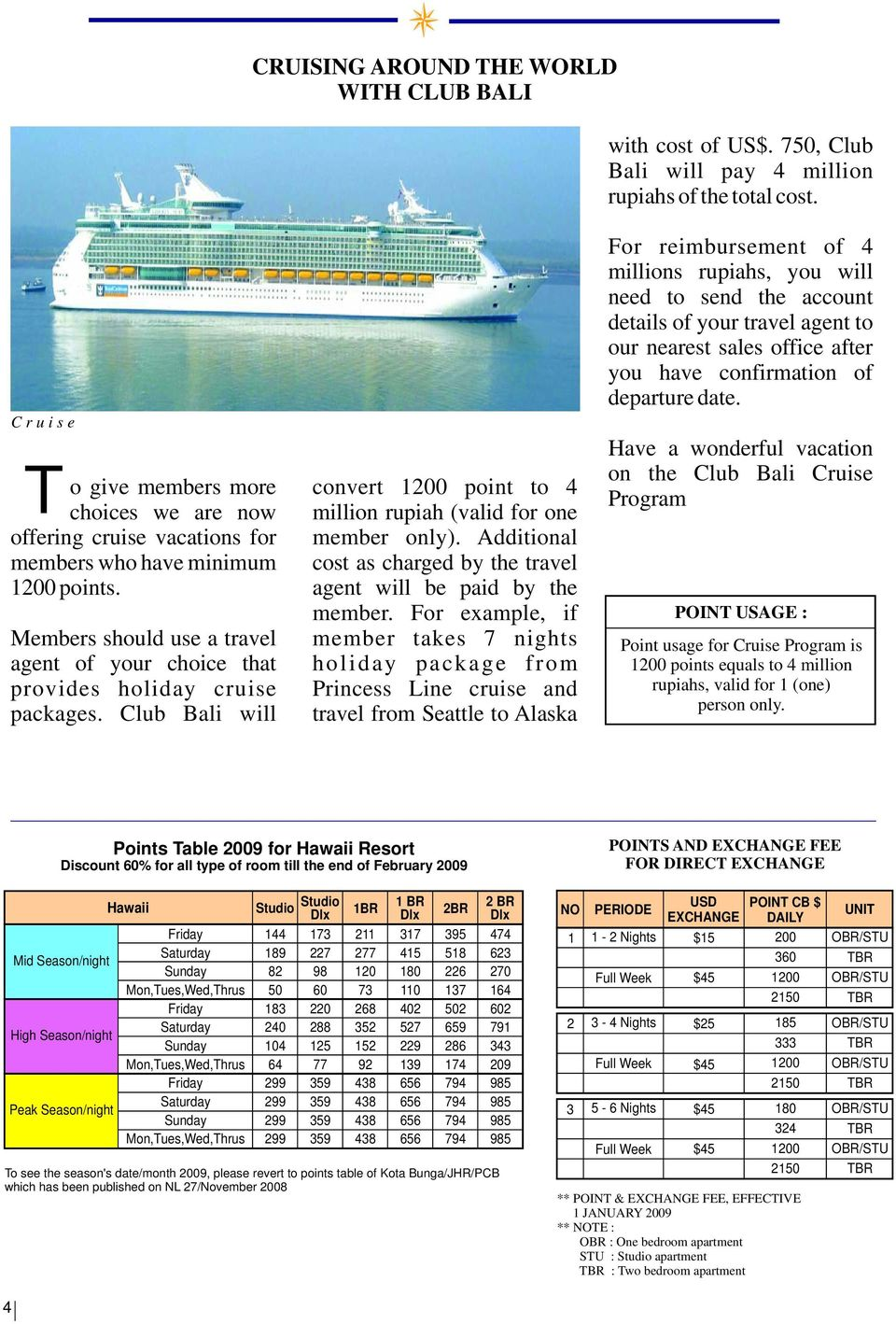 Members should use a travel agent of your choice that provides holiday cruise packages. Club Bali will convert 1200 point to 4 million rupiah (valid for one member only).