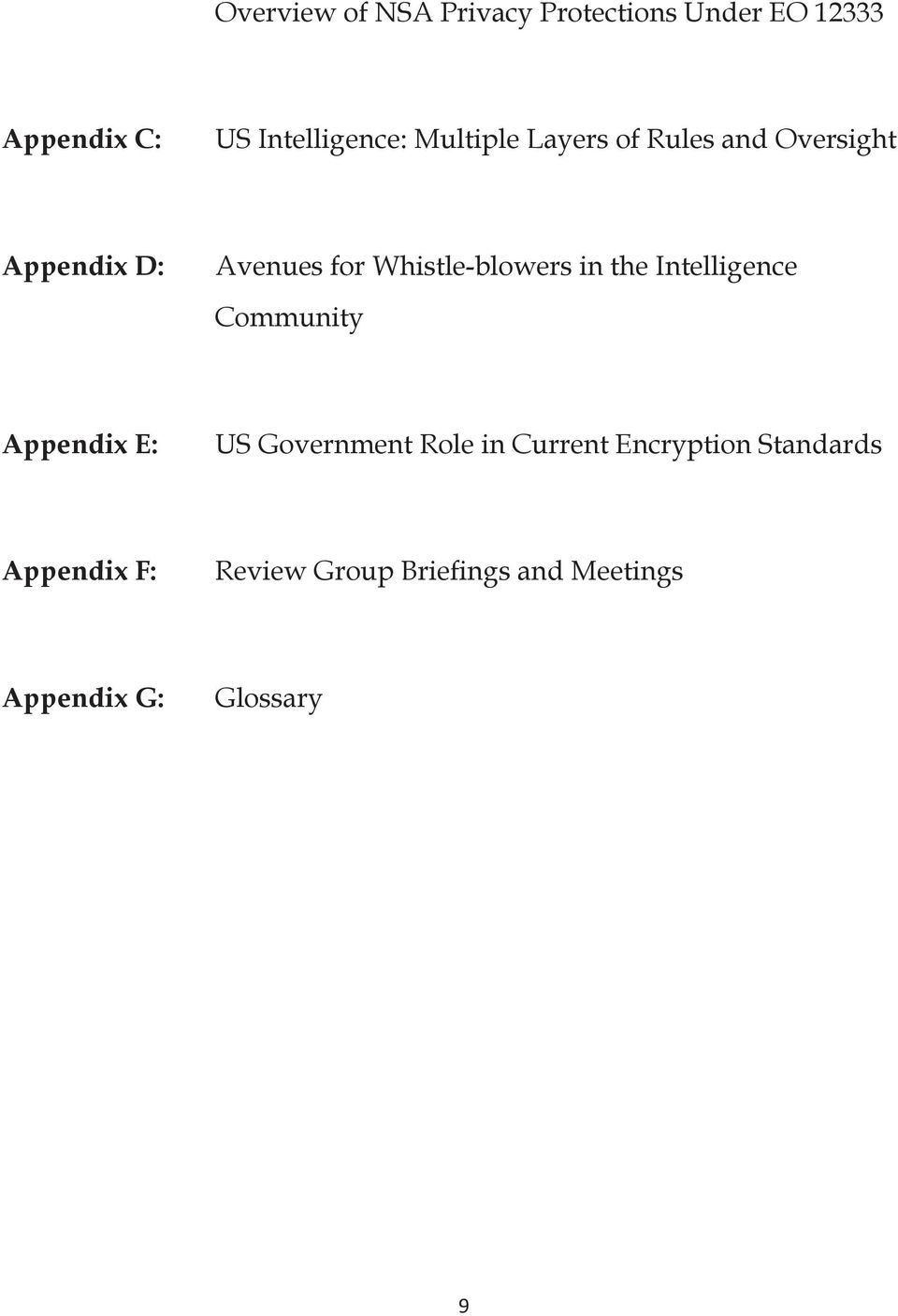 in the Intelligence Community Appendix E: US Government Role in Current