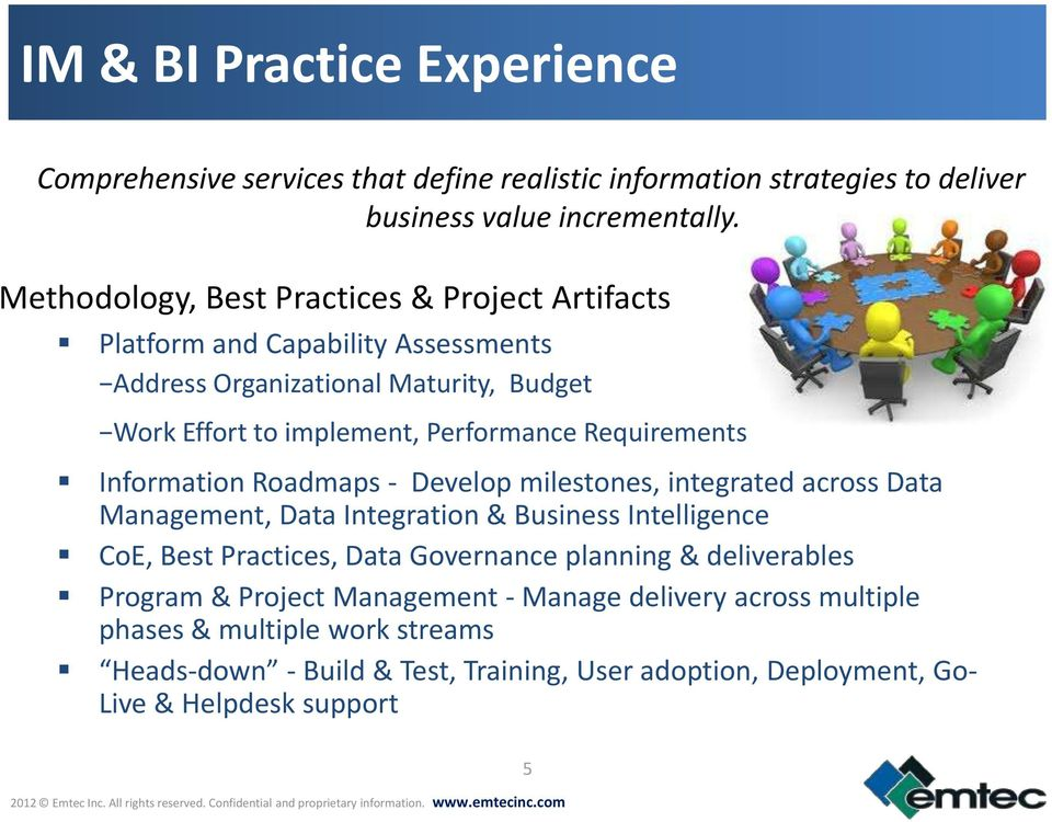 Requirements Information Roadmaps - Develop milestones, integrated across Data Management, Data Integration & Business Intelligence CoE, Best Practices, Data Governance