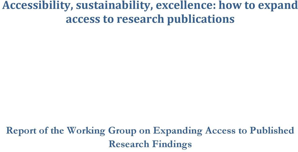 research publications Report of the