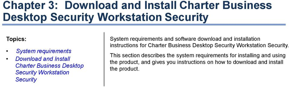 and installation instructions for Charter Business Desktop Security Workstation Security.