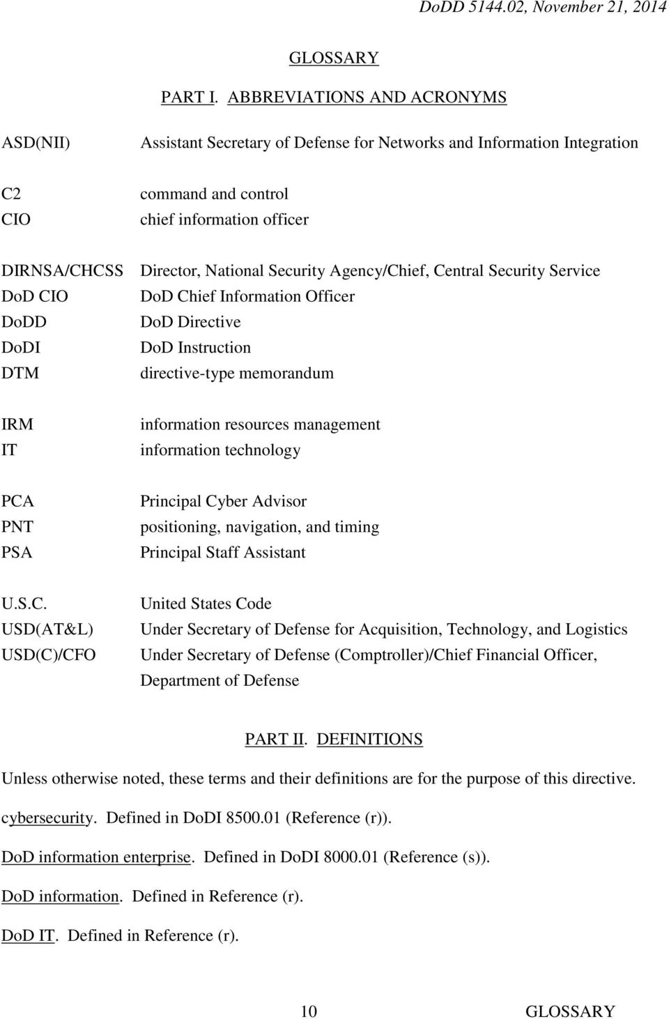 Security Agency/Chief, Central Security Service DoD CIO DoD Chief Information Officer DoDD DoD Directive DoDI DoD Instruction DTM directive-type memorandum IRM IT information resources management