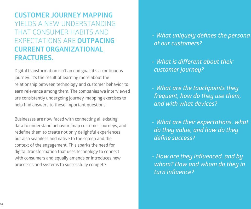 The companies we interviewed are consistently undergoing journey-mapping exercises to help find answers to these important questions. What uniquely defines the persona of our customers?