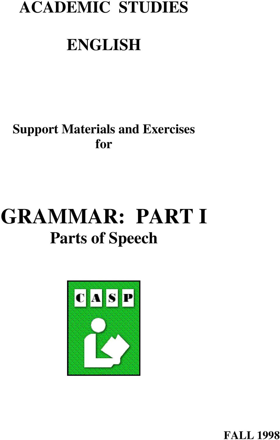 Exercises for GRAMMAR: