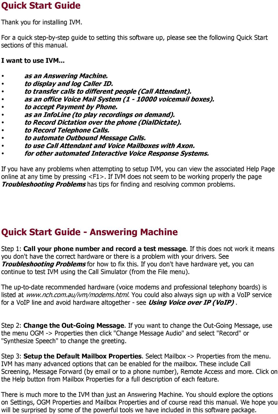 Nch Swift Sound Ivm Phone Answering Attendant Pdf
