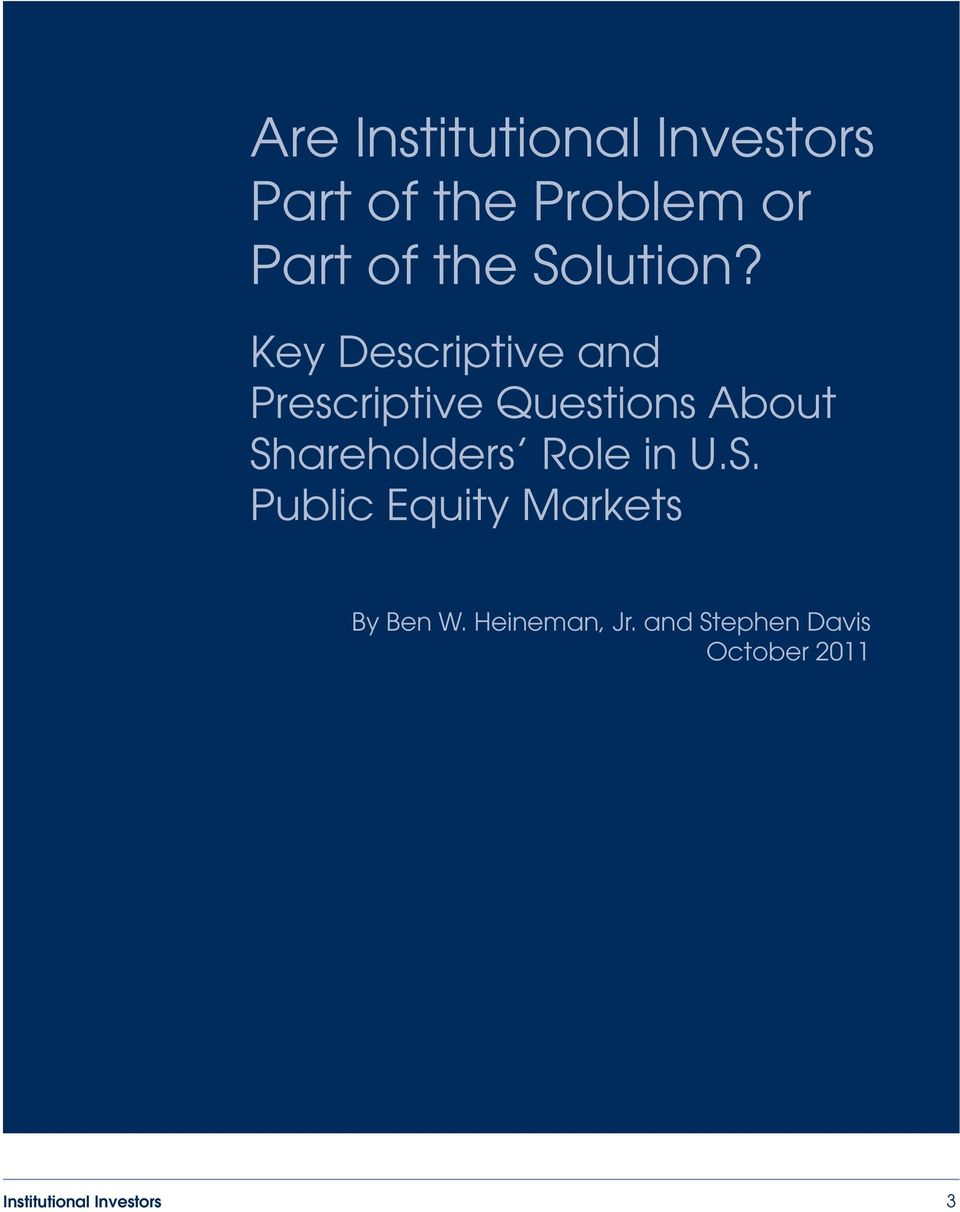 Key Descriptive and Prescriptive Questions About Shareholders