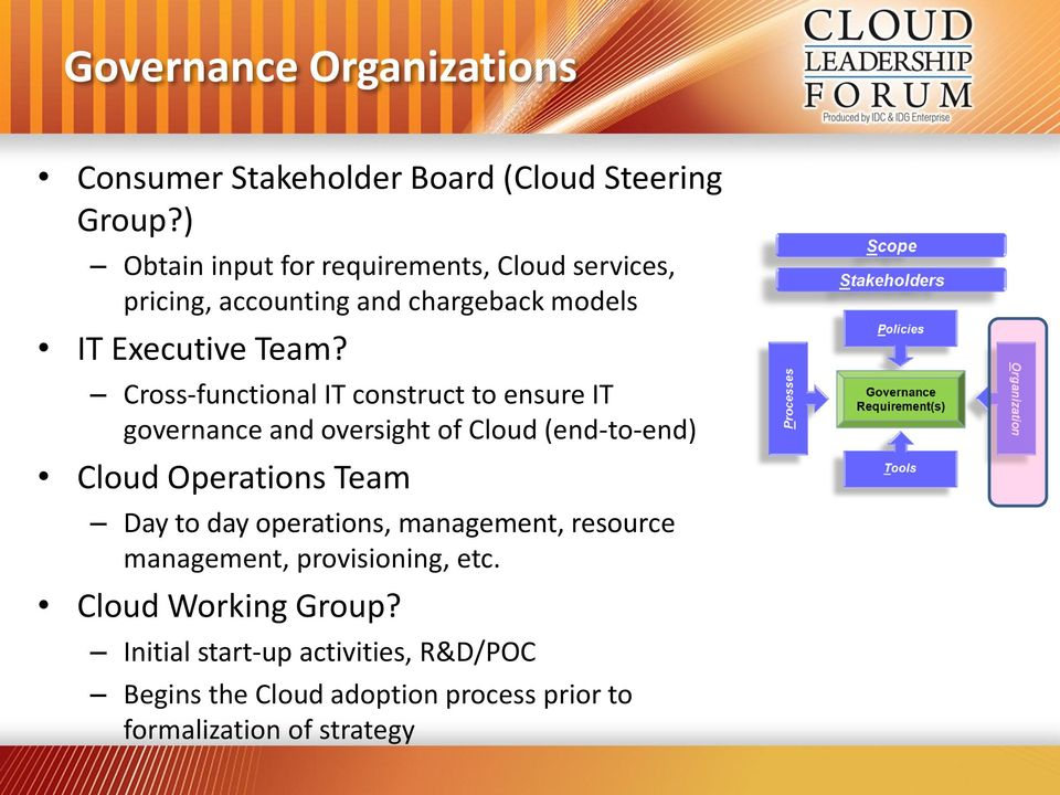 Cross-functional IT construct to ensure IT governance and oversight of (end-to-end) Operations Team Day to day