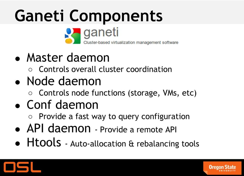 etc) Conf daemon Provide a fast way to query configuration API