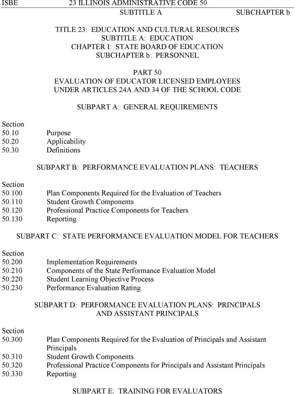 THE SCHOOL CODE SUBPART A: GENERAL REQUIREMENTS SUBPART B: PERFORMANCE EVALUATION PLANS: TEACHERS Section 50.100 Plan Components Required for the Evaluation of Teachers 50.