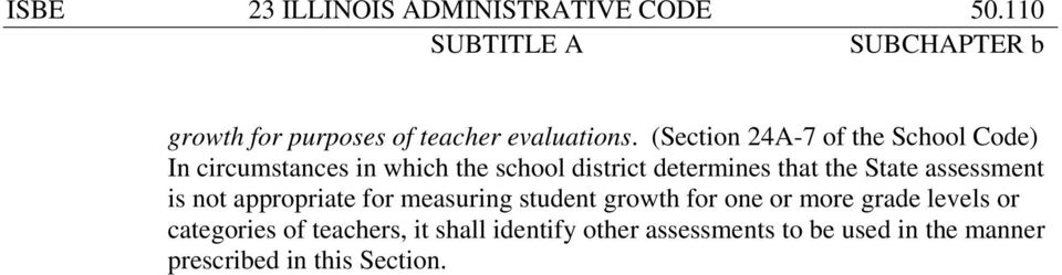 the State assessment is not appropriate for measuring student growth for one or more grade levels