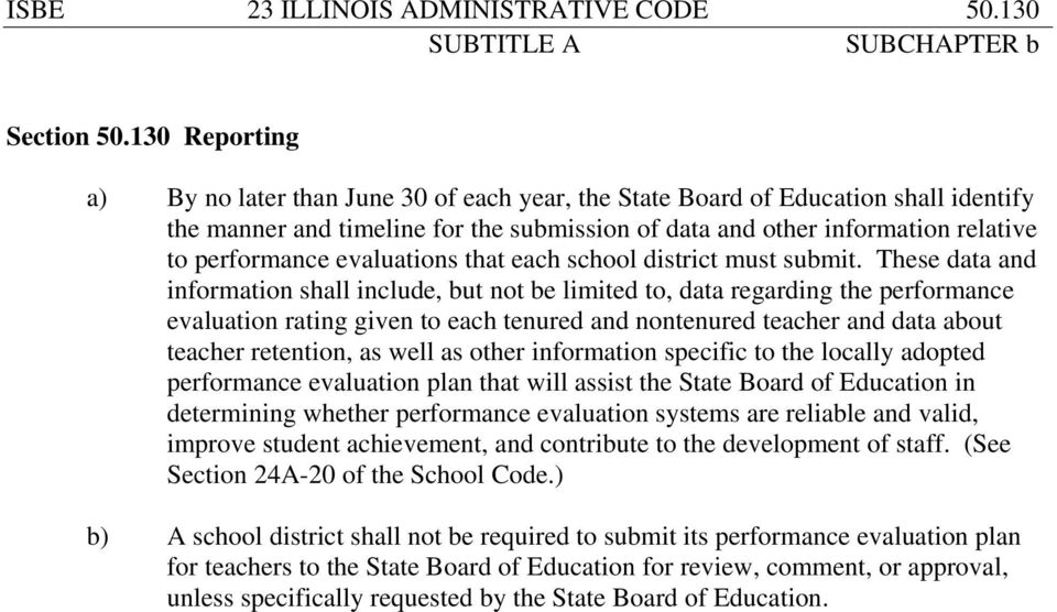 evaluations that each school district must submit.