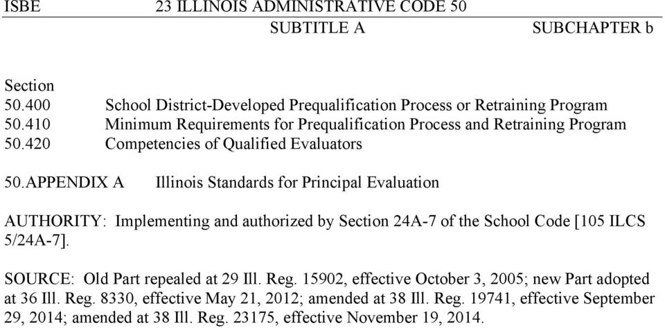 APPENDIX A Illinois Standards for Principal Evaluation AUTHORITY: Implementing and authorized by Section 24A-7 of the School Code [105 ILCS 5/24A-7].