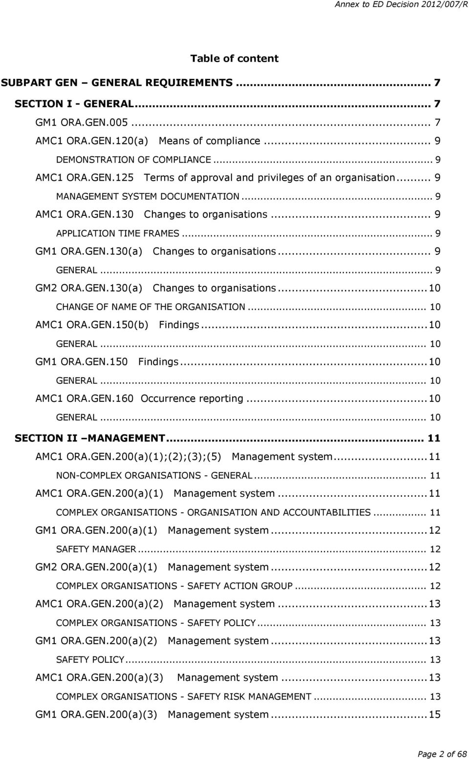 .. 10 AMC1 ORA.GEN.150 Findings... 10 GENERAL... 10 GM1 ORA.GEN.150 Findings... 10 GENERAL... 10 AMC1 ORA.GEN.160 Occurrence reporting... 10 GENERAL... 10 SECTION II MANAGEMENT... 11 AMC1 ORA.GEN.200(1);(2);(3);(5) Management system.