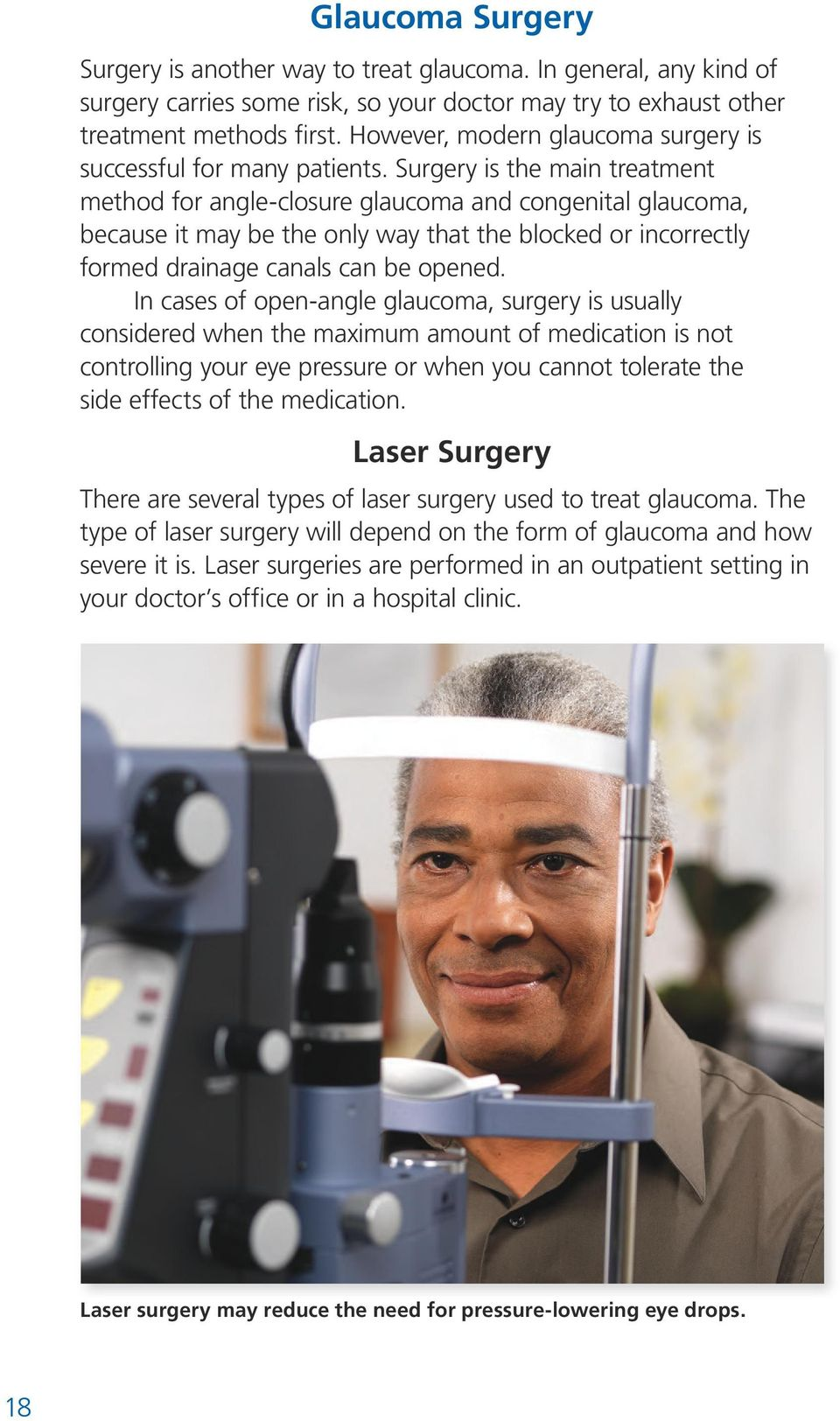 Surgery is the main treatment method for angle-closure glaucoma and congenital glaucoma, because it may be the only way that the blocked or incorrectly formed drainage canals can be opened.