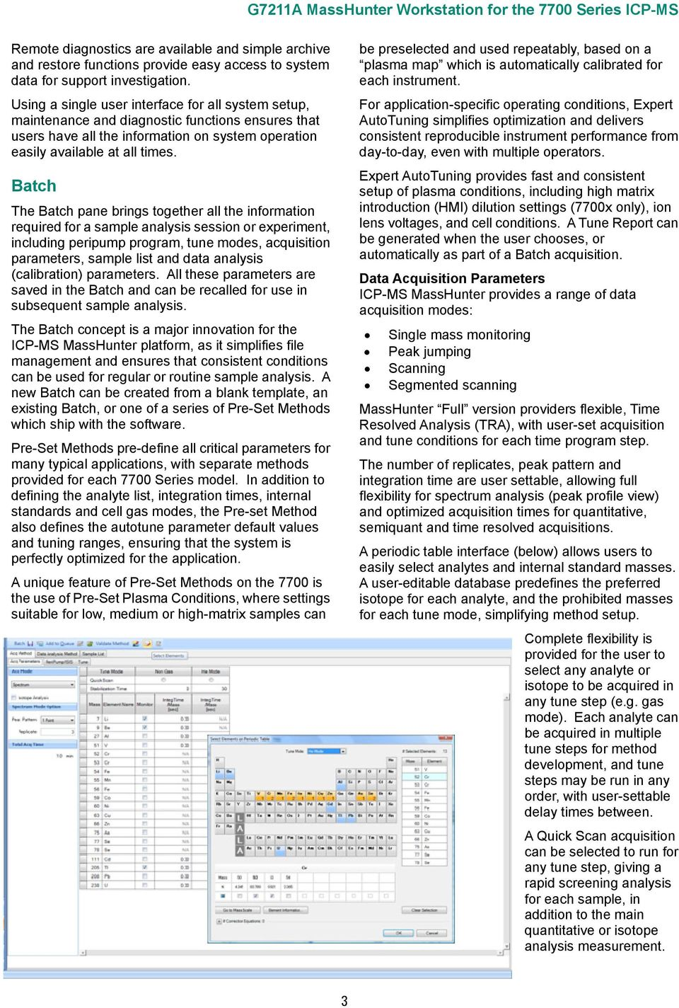 Batch The Batch pane brings together all the information required for a sample analysis session or experiment, including peripump program, tune modes, acquisition parameters, sample list and data