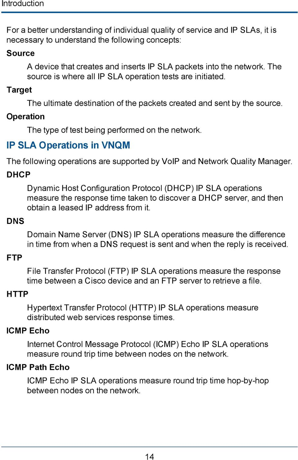 The type of test being performed on the network. IP SLA Operations in VNQM The following operations are supported by VoIP and Network Quality Manager.