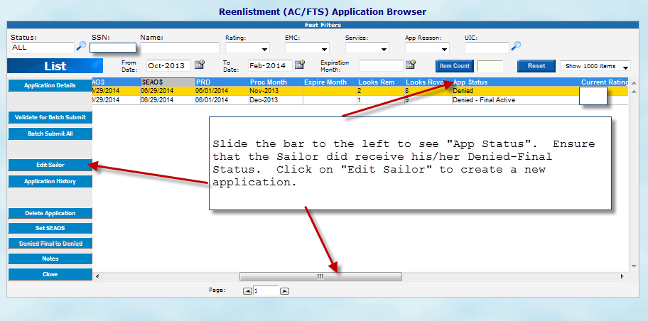 TO CREATE A SELRES C-WAY APPLICATION AFTER SAILOR HAS RECEIVED A DENIED-FINAL