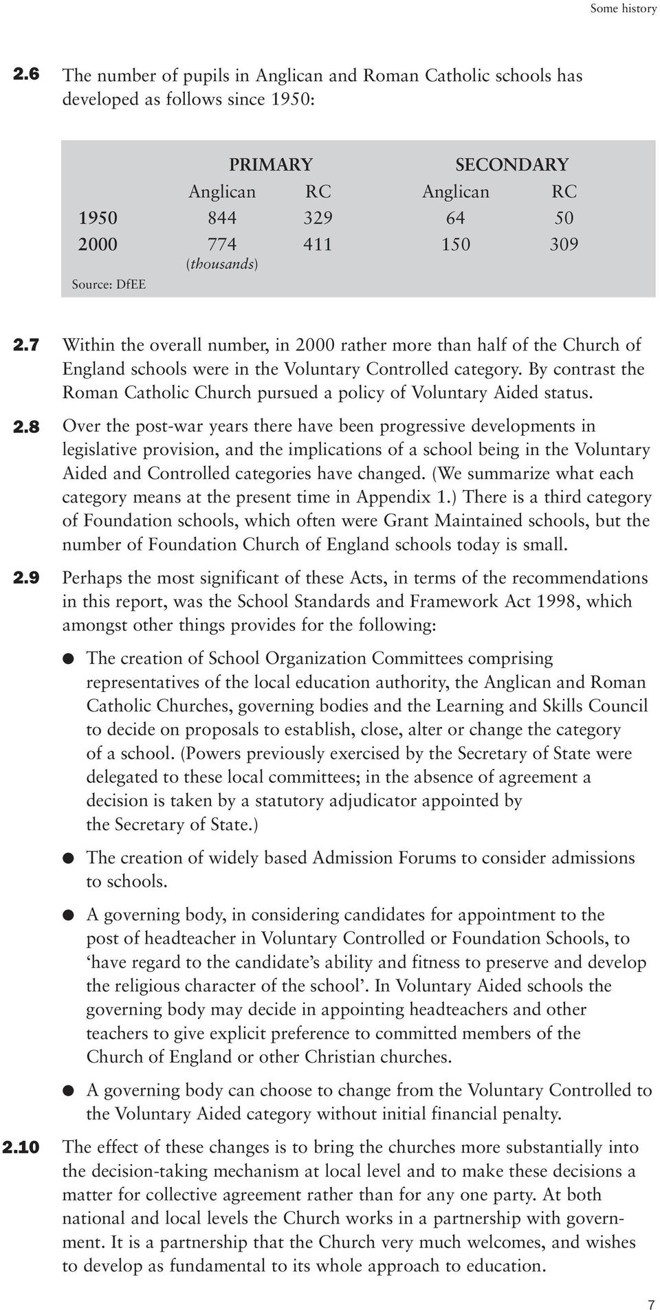 Source: DfEE 2.7 2.8 2.9 Within the overall number, in 2000 rather more than half of the Church of England schools were in the Voluntary Controlled category.