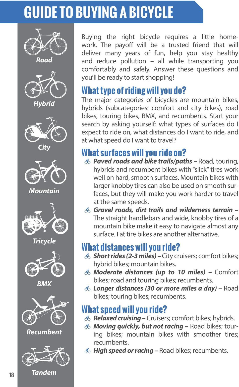 Answer these questions and you ll be ready to start shopping! What type of riding will you do?