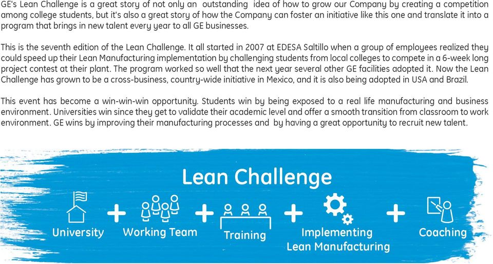 It all started in 2007 at EDESA Saltillo when a group of employees realized they could speed up their Lean Manufacturing implementation by challenging students from local colleges to compete in a
