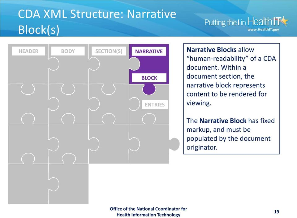 Within a document section, the narrative block represents content to