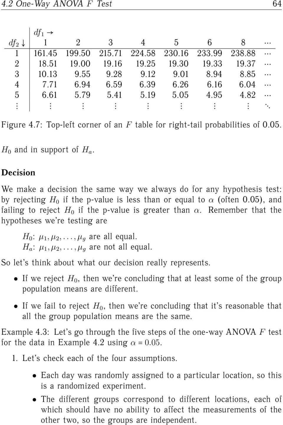 Decision We make a decision the same way we always do for any hypothesis test: by rejecting H 0 if the p-value is less than or equal to α (often 0.