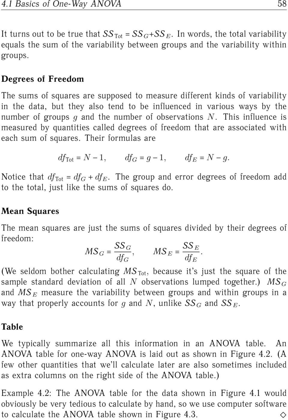 of observations N. This influence is measured by quantities called degrees of freedom that are associated with each sum of squares. Their formulas are df Tot N 1, df G g 1, df E N g.