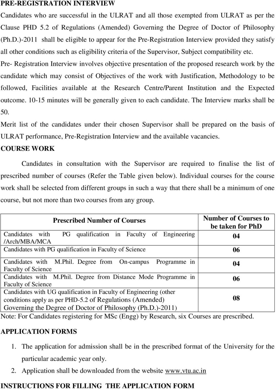 gree of Doctor of Philosophy (Ph.D.)-2011 shall be eligible to appear for the Pre-Registration Interview provided they satisfy all other conditions such as eligibility criteria of the Supervisor, Subject compatibility etc.