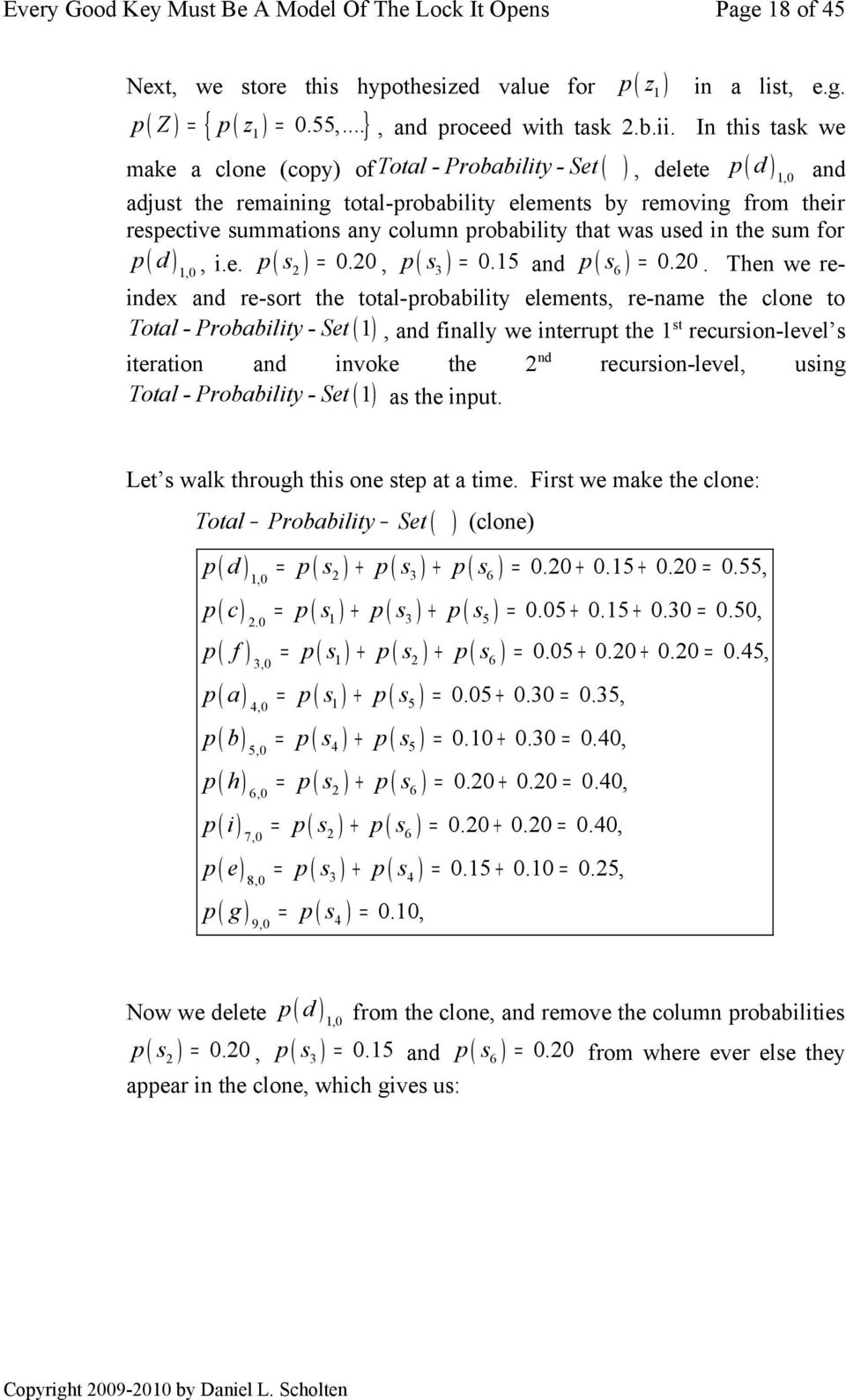 probability that was used in the sum for p ( d ) 1,0, i.e. p ( s 2 ) = 0.20,