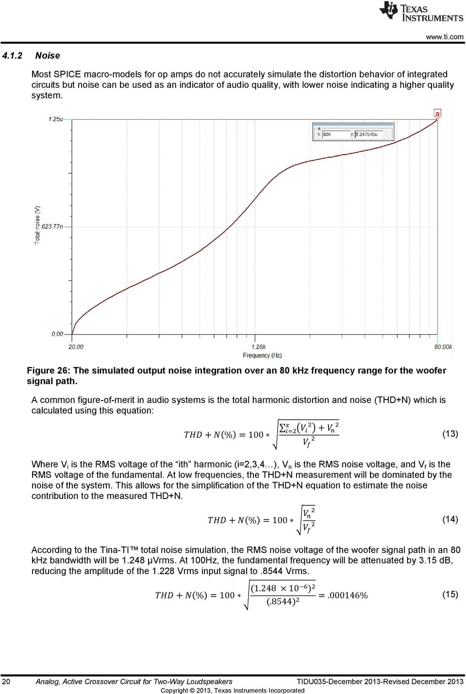 A common figure-of-merit in audio systems is the total harmonic distortion and noise (THD+N) which is calculated using this equation: ( ) ( ) (13) Where V i is the RMS voltage of the ith harmonic