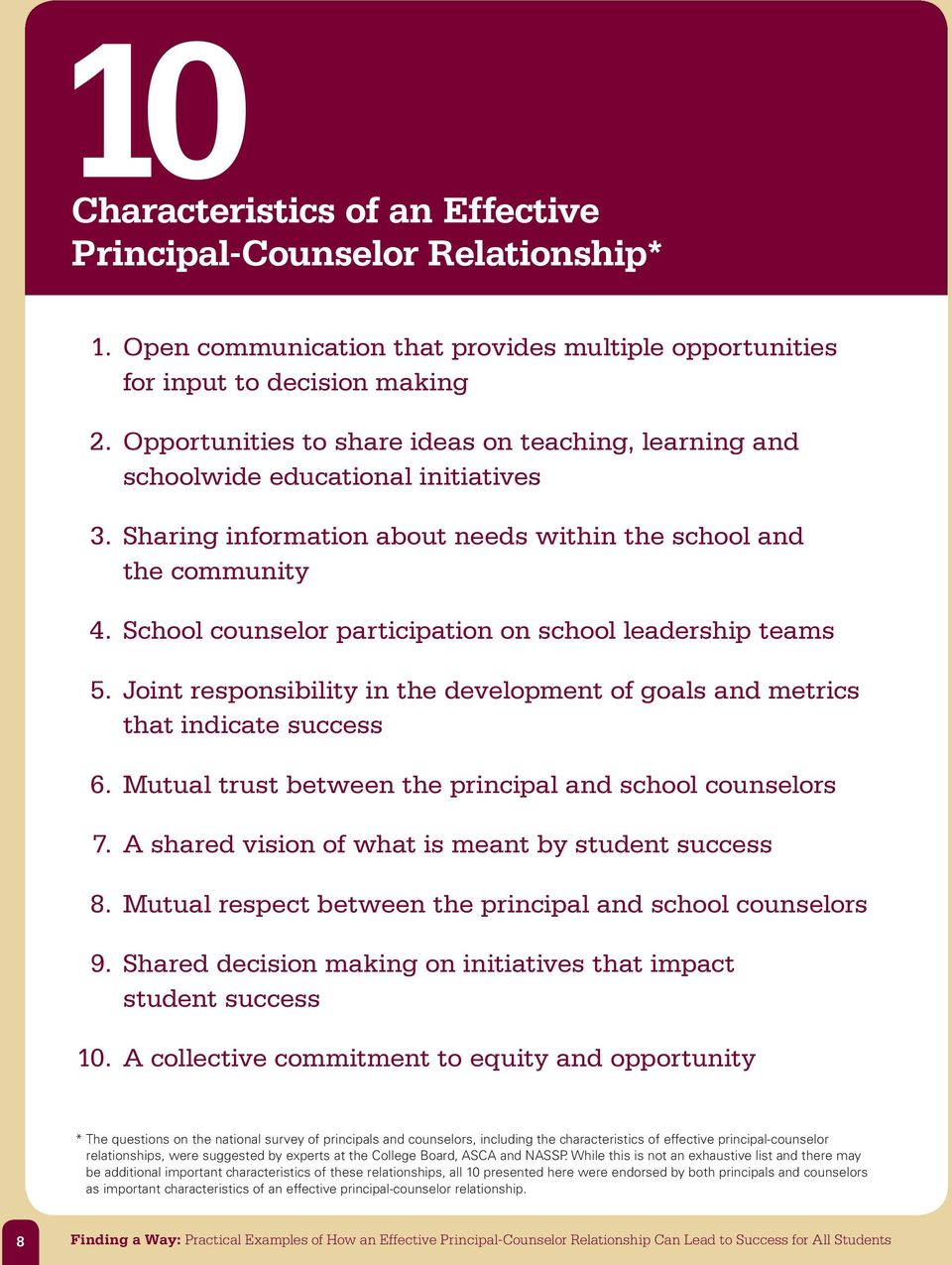 School counselor participation on school leadership teams 5. Joint responsibility in the development of goals and metrics that indicate success 6.