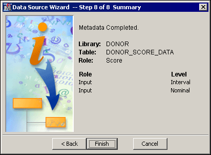 Score New Data 43 Score New Data To create a new data source for the sample data that you will score: 1. On the File menu, select New ð Data Source. The Data Source Wizard opens. 2.