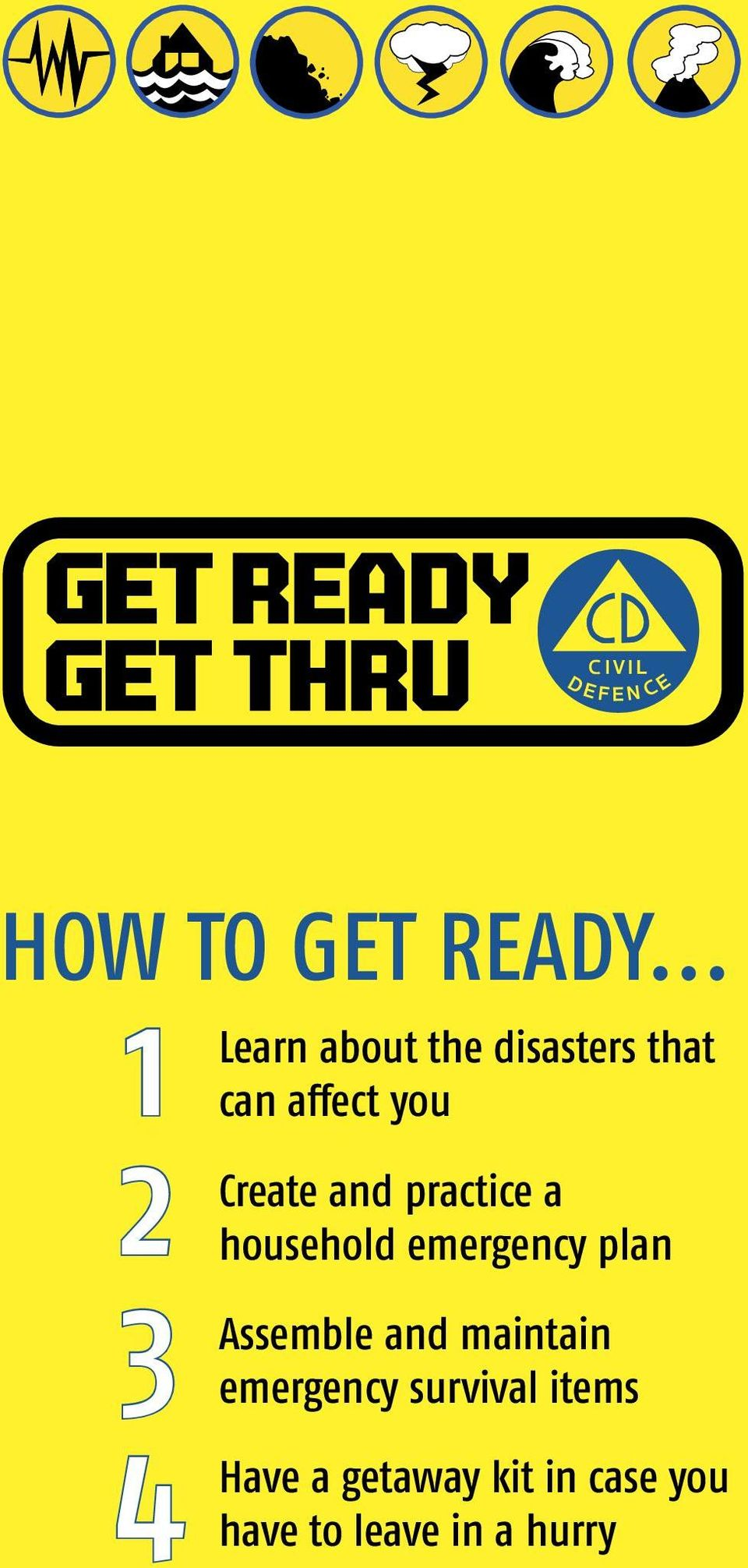 Create and practice a household emergency plan Assemble