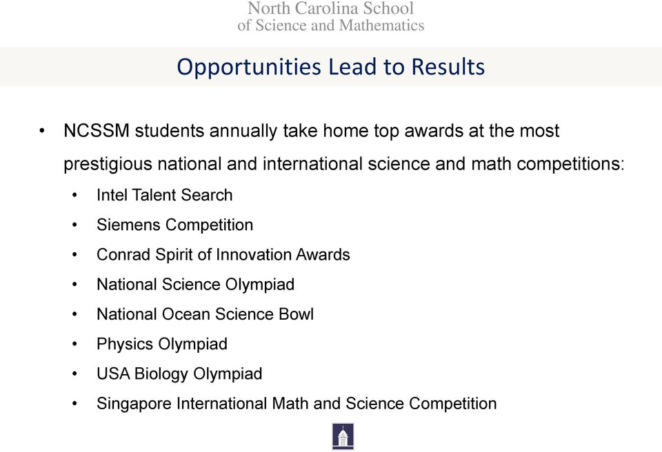 Siemens Competition Conrad Spirit of Innovation Awards National Science Olympiad National Ocean