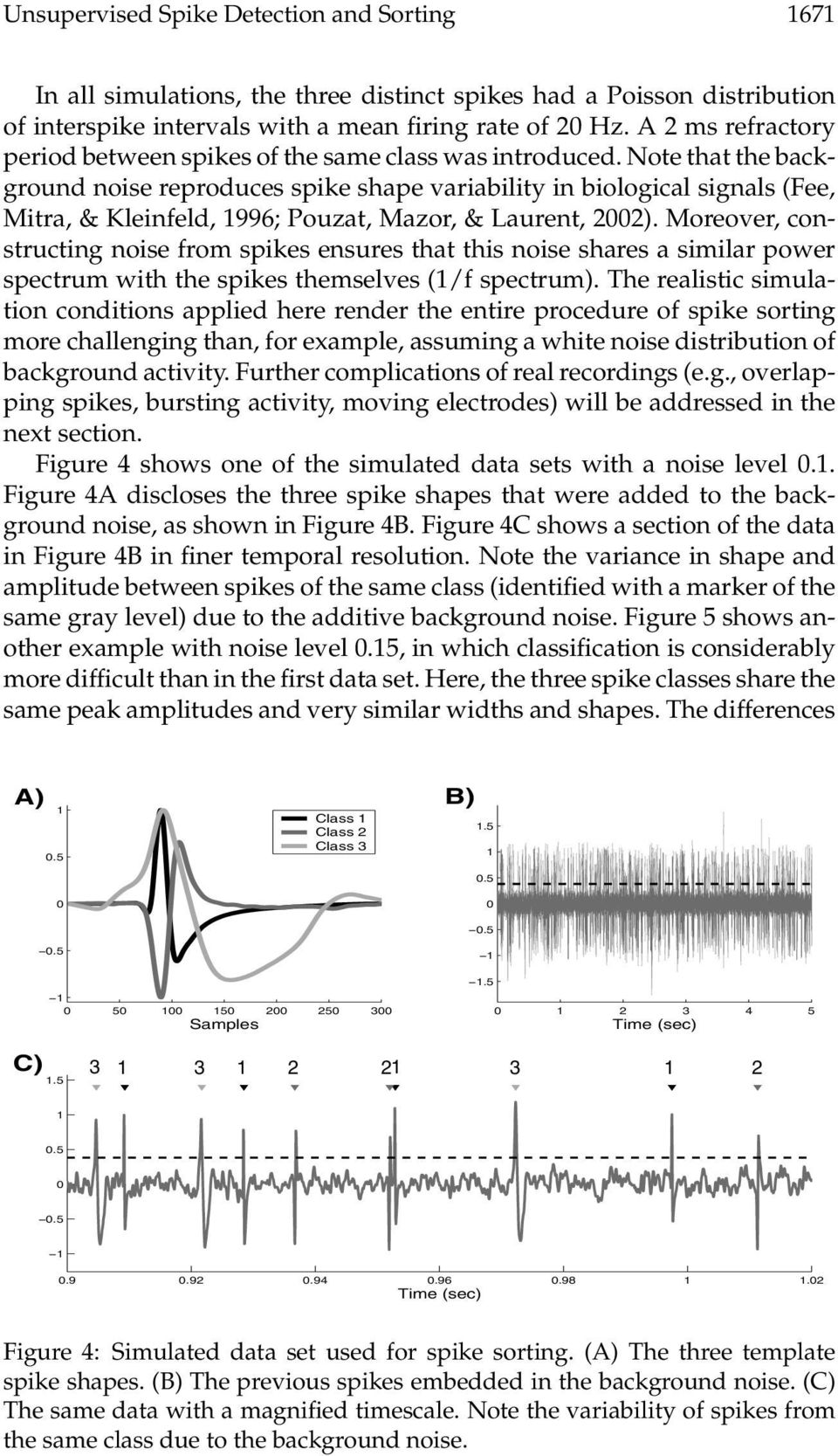 Note that the background noise reproduces spike shape variability in biological signals (Fee, Mitra, & Kleinfeld, 1996; Pouzat, Mazor, & Laurent, 22).