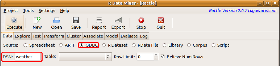 4.3 ODBC Sourced Data 85 Ratte can obtain a dataset from any database accessibe through ODBC by using Ratte s ODBC option (Figure 4.5).