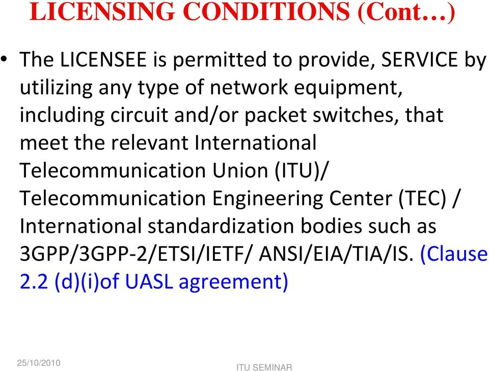 International Telecommunication Union (ITU)/ Telecommunication Engineering Center (TEC) /