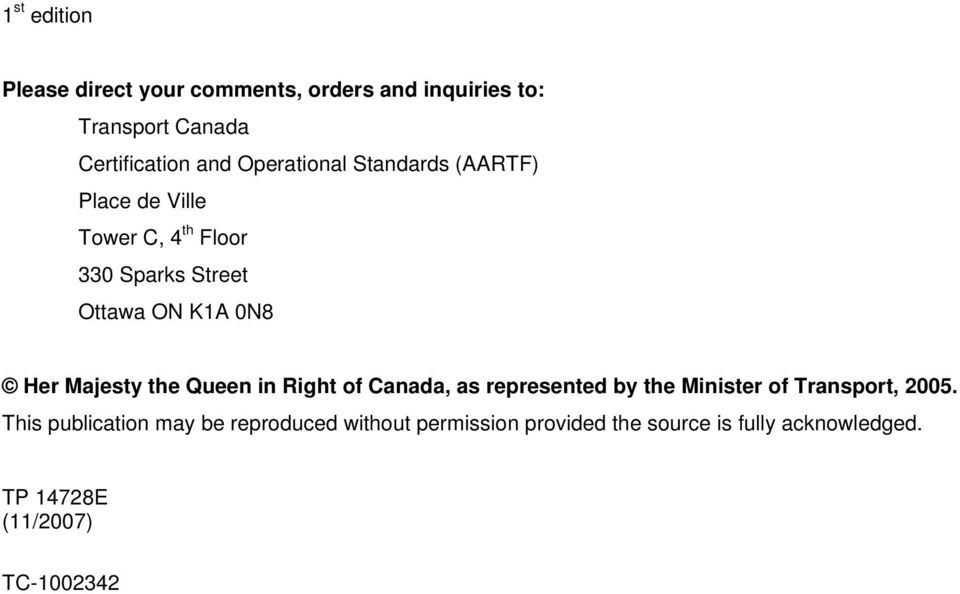 Majesty the Queen in Right of Canada, as represented by the Minister of Transport, 2005.