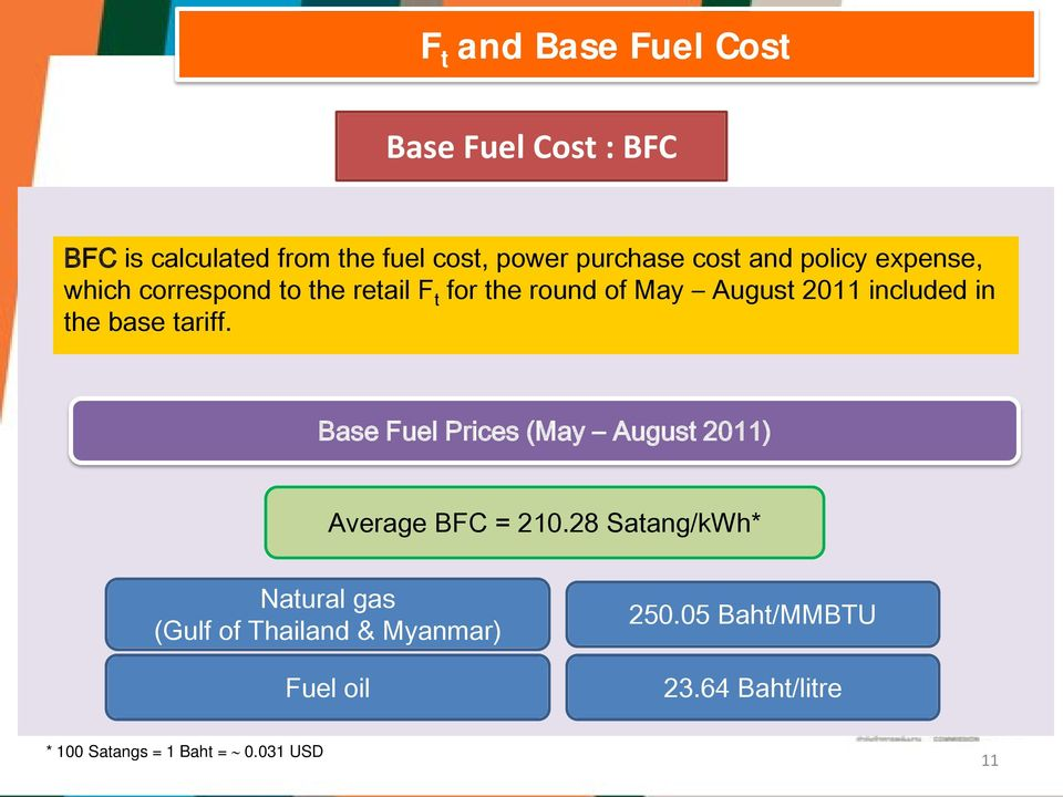 the base tariff. Base Fuel Prices (May August 2011) Average BFC = 210.