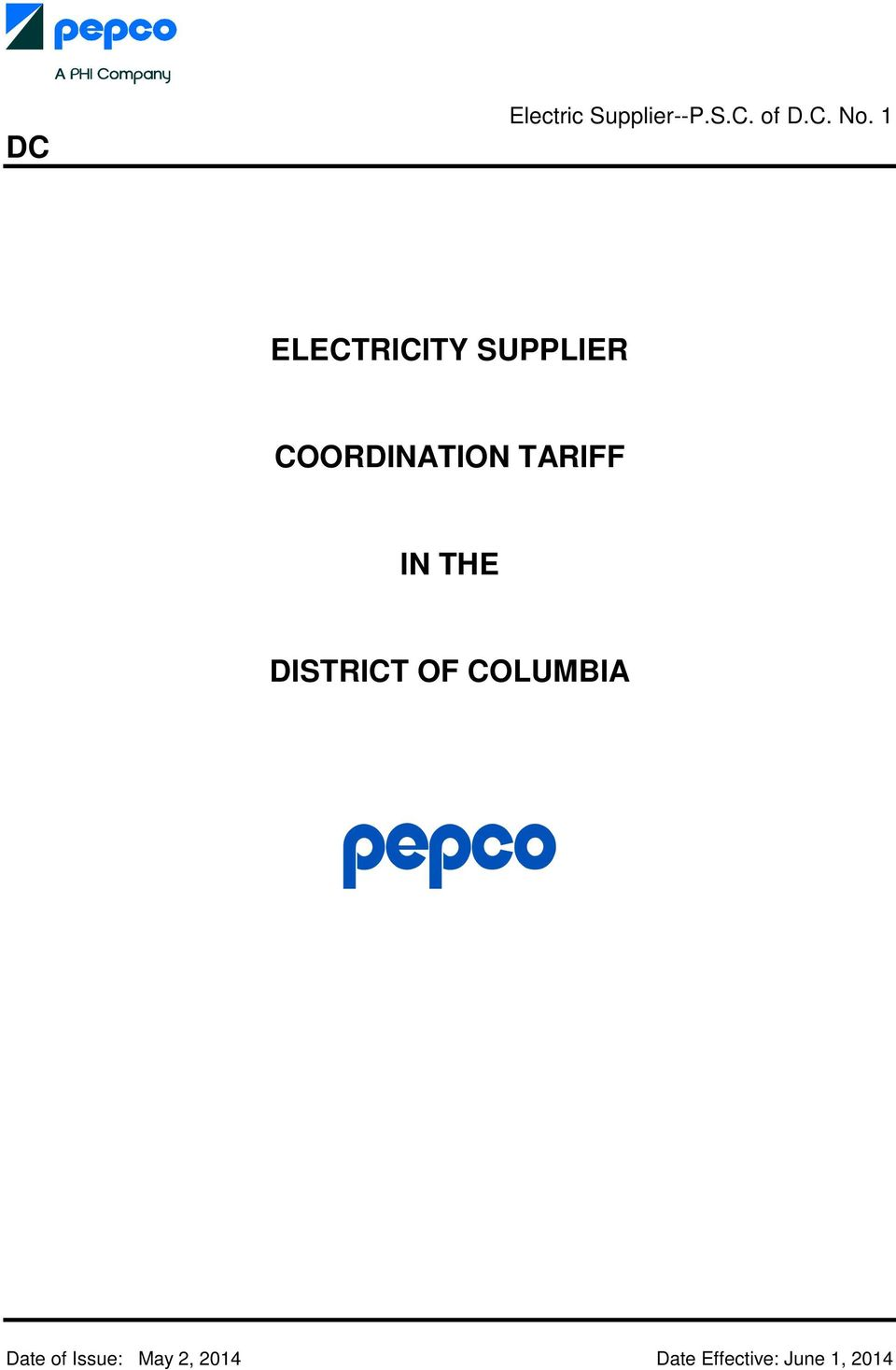 TARIFF IN THE DISTRICT OF COLUMBIA Date