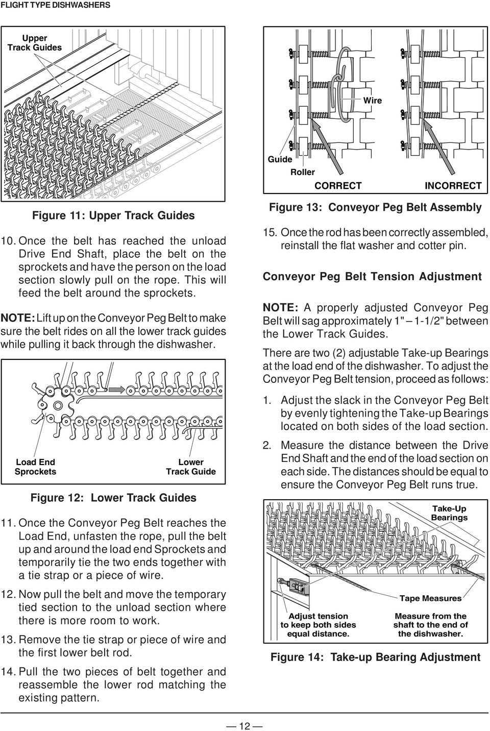 NOTE: Lift up on the Conveyor Peg Belt to make sure the belt rides on all the lower track guides while pulling it back through the dishwasher. Figure 13: Conveyor Peg Belt Assembly 15.