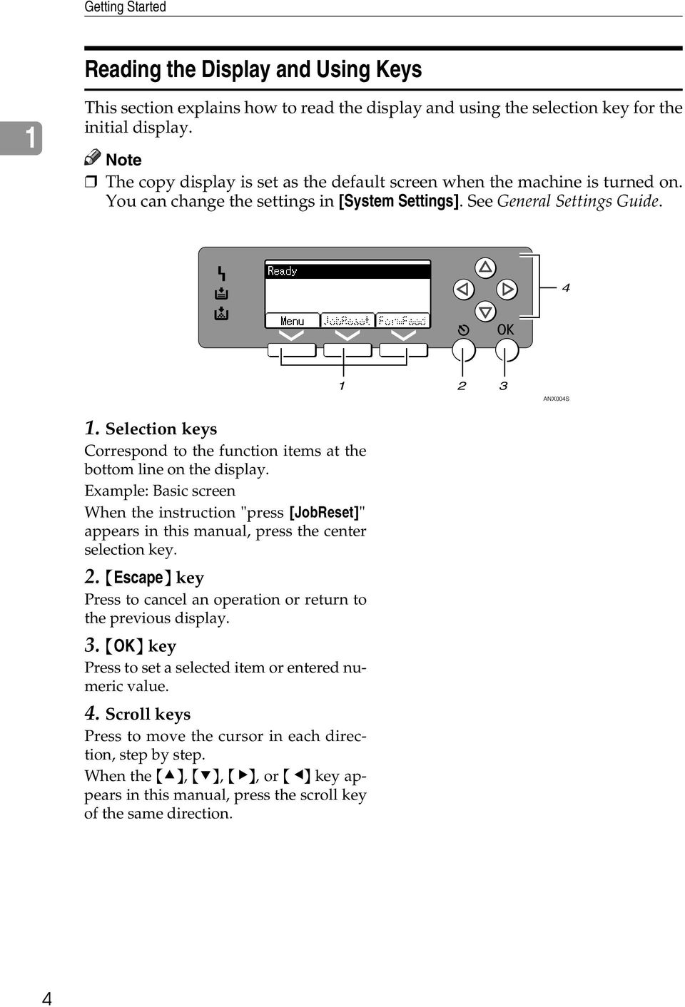 "Selection keys Correspond to the function items at the bottom line on the display. Example: Basic screen When the instruction ""press [JobReset]"" appears in this manual, press the center selection key."