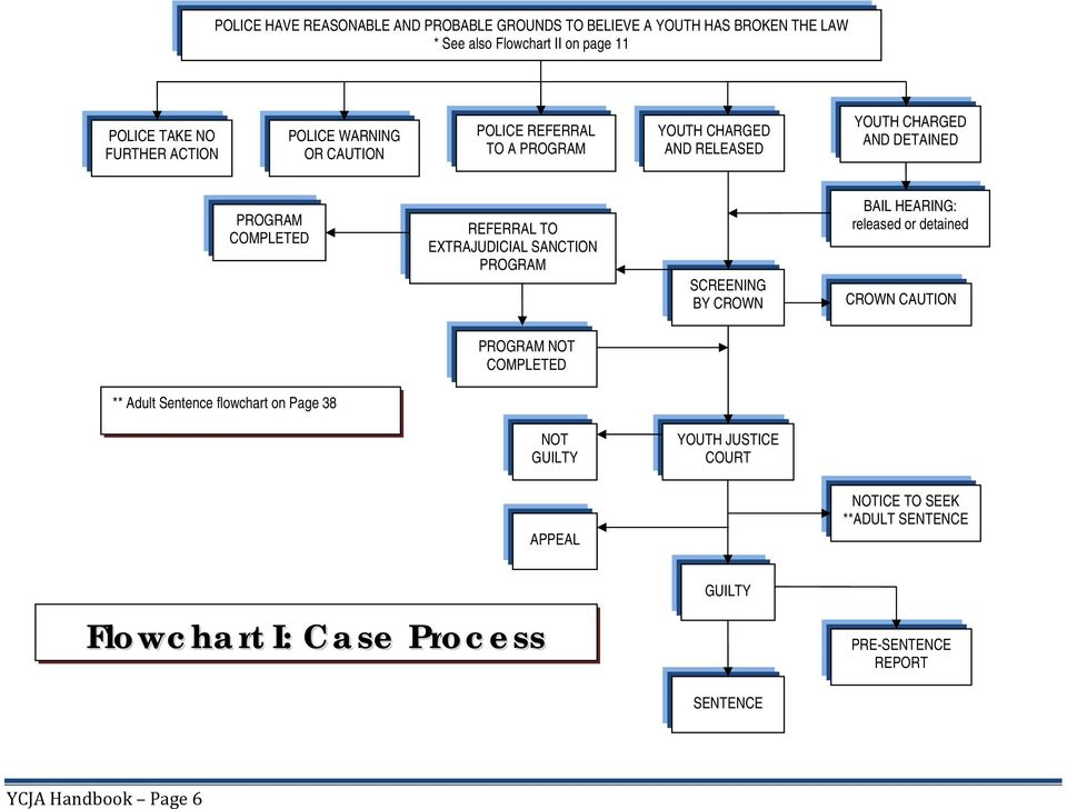 EXTRAJUDICIAL SANCTION PROGRAM SCREENING BY CROWN BAIL HEARING: released or detained CROWN CAUTION PROGRAM NOT COMPLETED ** Adult Sentence flowchart