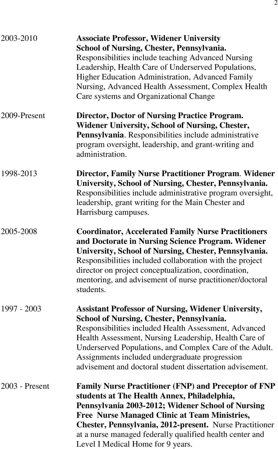 curriculum vitae shirlee m drayton brooks ph d rn crnp aprn health care systems and organizational change 2009 present director doctor of nursing practice program