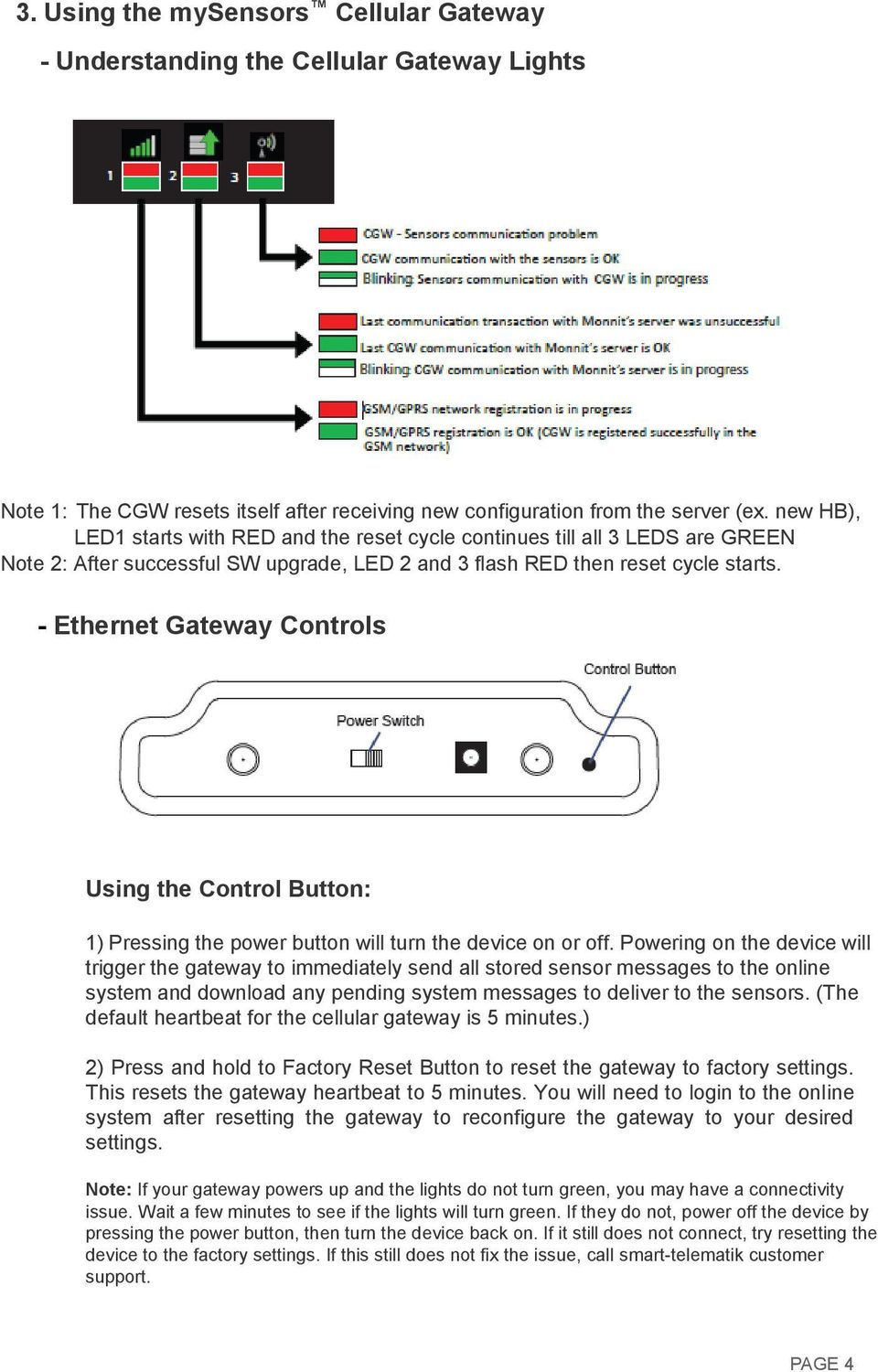- Ethernet Gateway Controls Using the Control Button: 1) Pressing the power button will turn the device on or off.