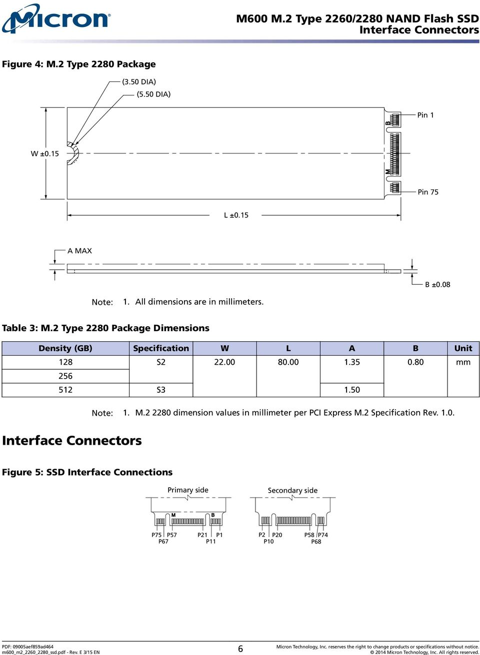 00 80.00 1.35 0.80 mm 256 512 S3 1.50 Note: 1. M.2 2280 dimension values in millimeter per PCI Express M.2 Specification Rev.