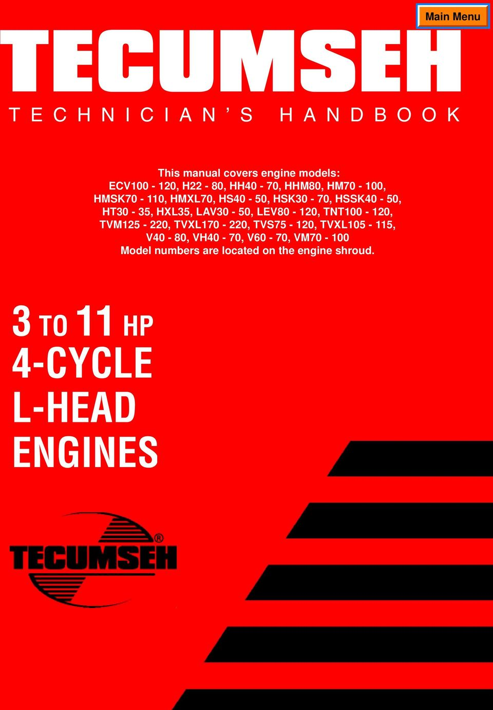 Tecumseh Motor Wiring Diagram Stator Wires On Hp Briggs And Stratton 1965 Engine To Cycle L Head Engines Pdf Transcription