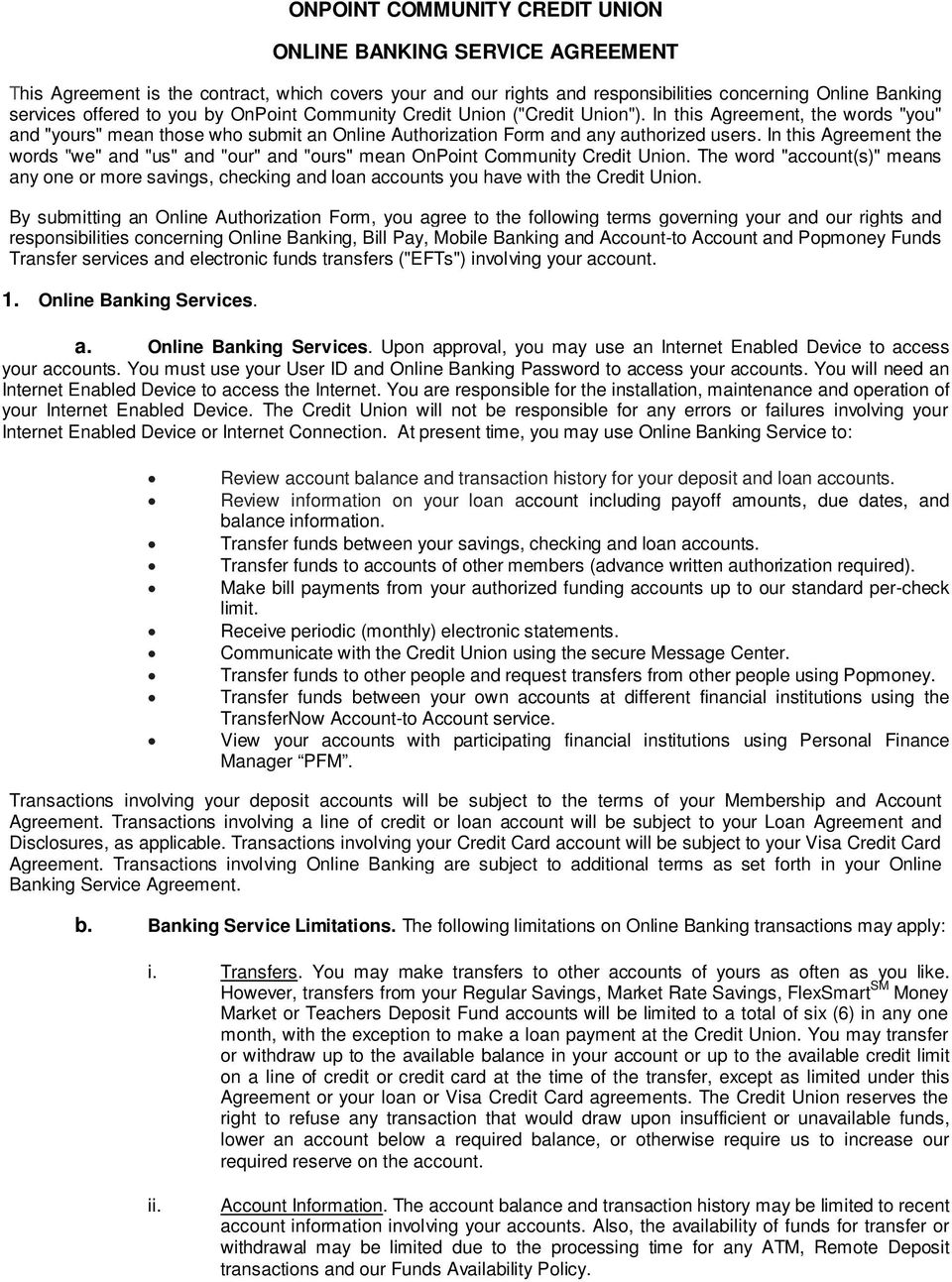 onpoint community credit union online banking service agreement - pdf