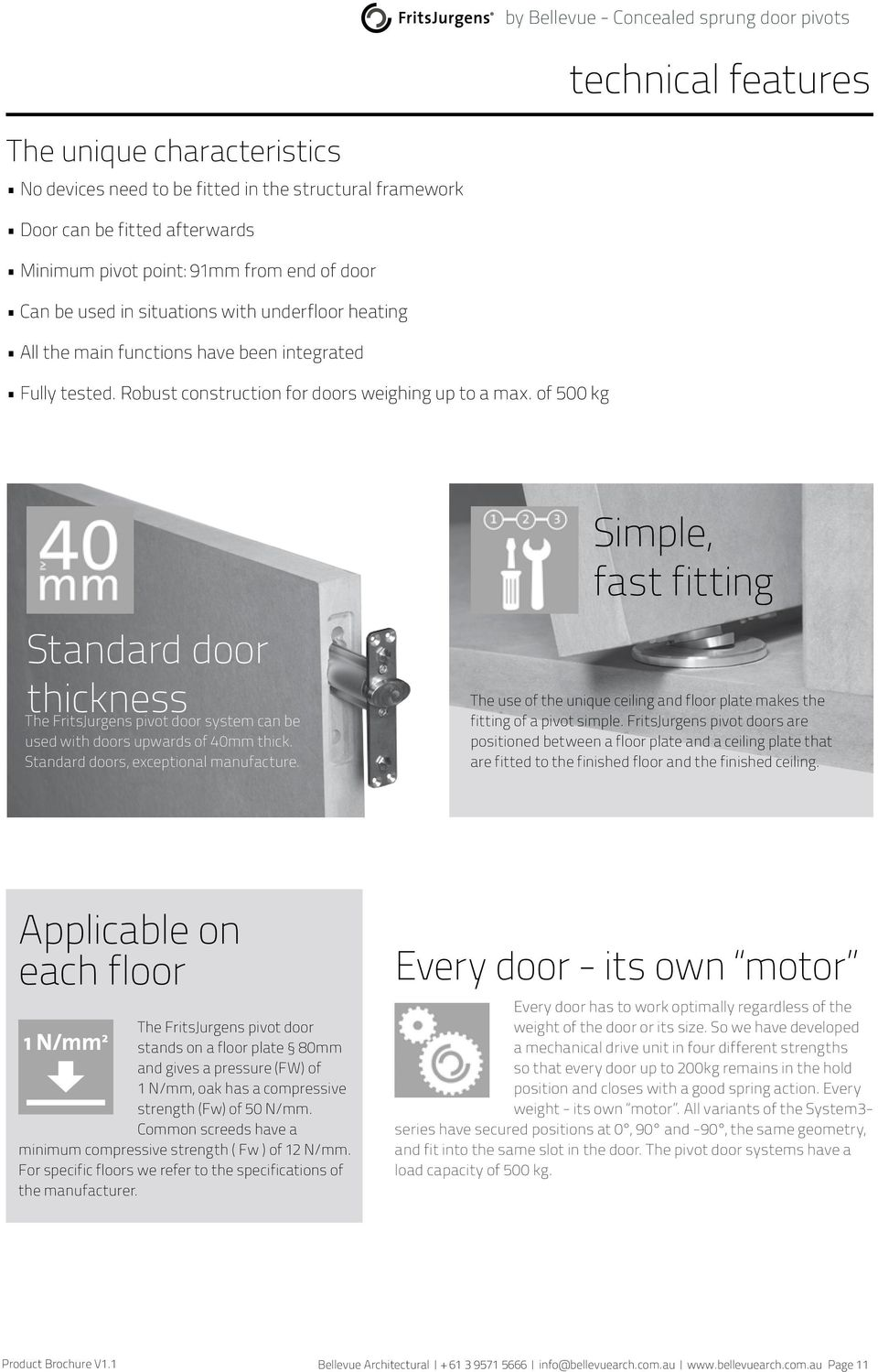 of 500 kg Standard door thickness The FritsJurgens pivot door system can be used with doors upwards of 40mm thick. Standard doors, exceptional manufacture.