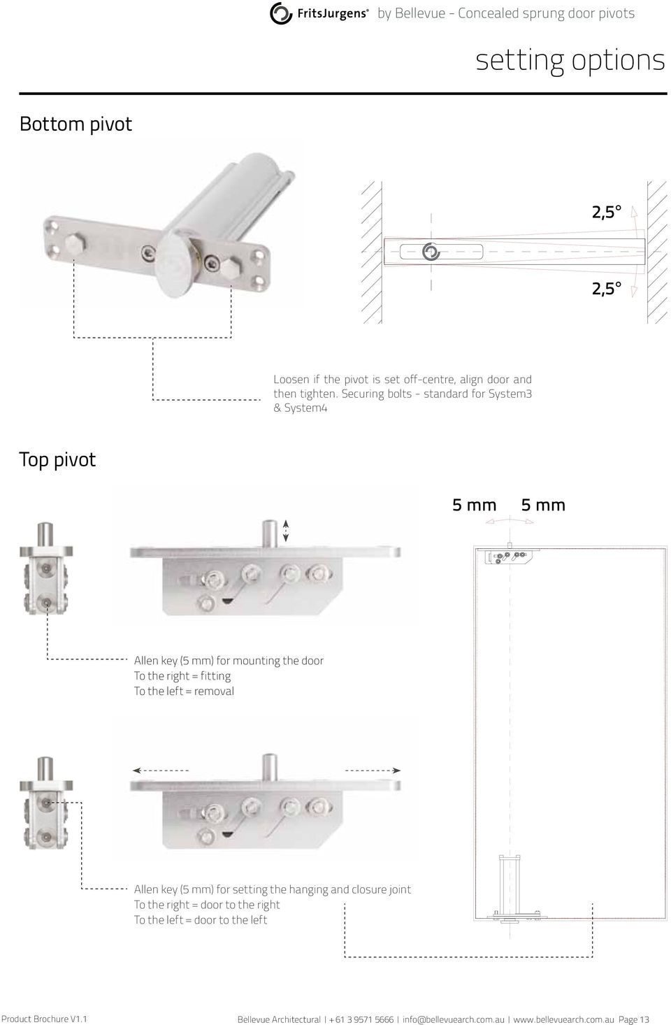 Securing bolts - standard for System3 & System4 Top pivot 5 mm 5 mm Allen key (5 mm) for